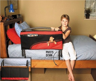 Fold Down Safety Bed Rail With Organizer Pouch
